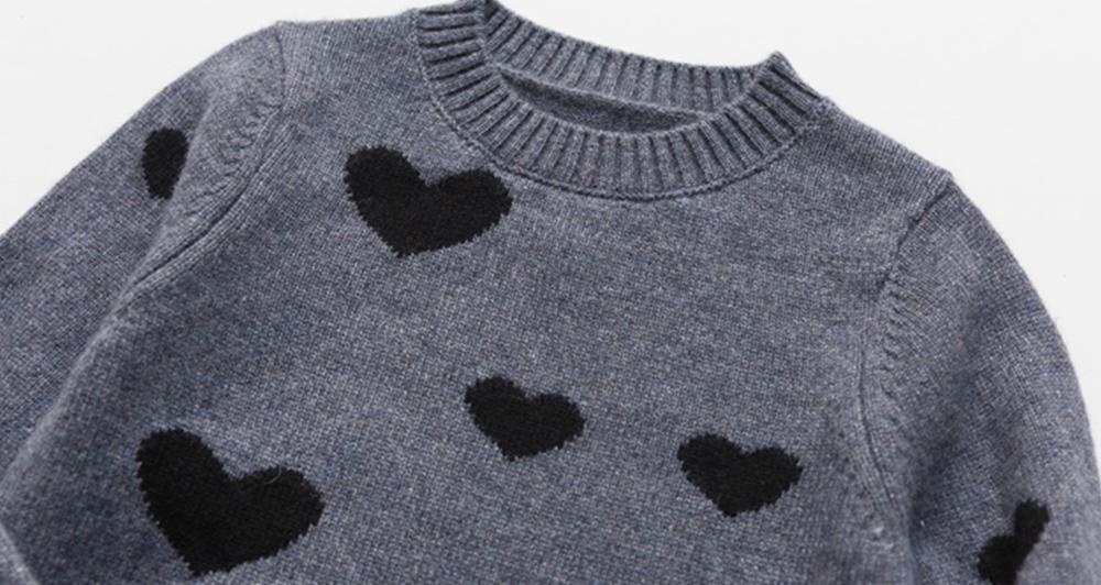Kinder Kaschmirpullover mit Herzmuster Pullover