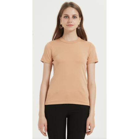 Kurzarm Supima Baumwolle Frauen T-Shirt mit einfarbigen