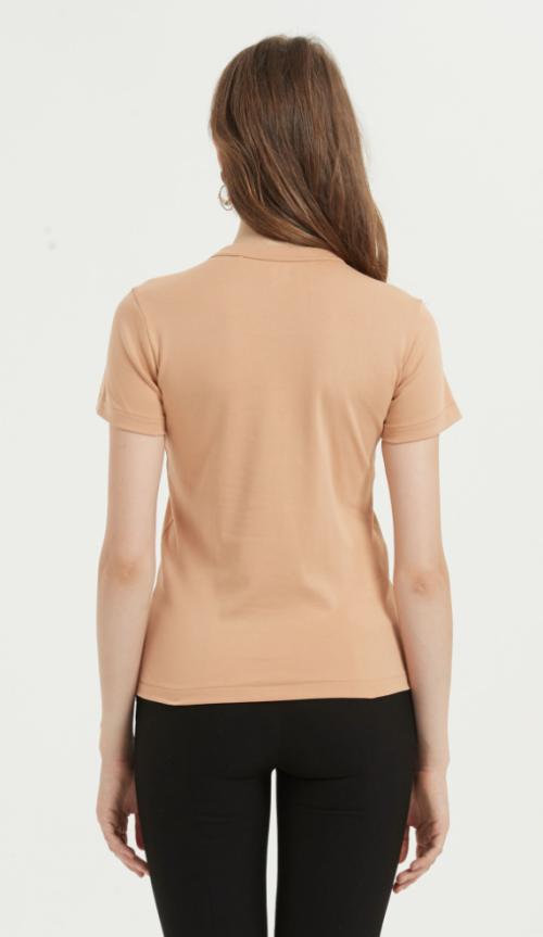 camiseta de mujer de algodón de manga corta supima con color liso