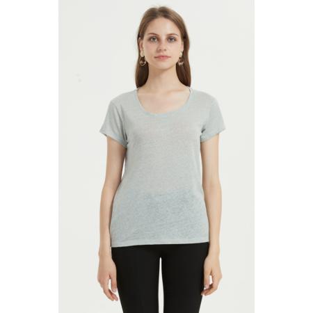 Mode Frauen T-Shirt mit kurzen Ärmeln und einfarbig