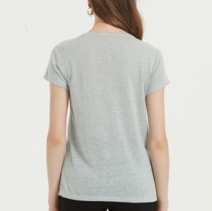 camiseta de mujer de moda con manga corta y color liso