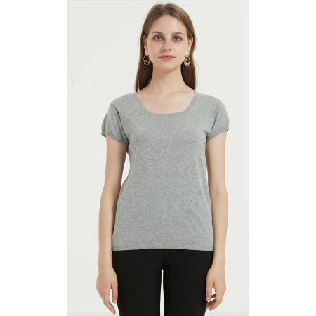 Kurzarm-Damen-T-Shirt aus einfarbiger Baumwolle aus Leinen für den Sommer