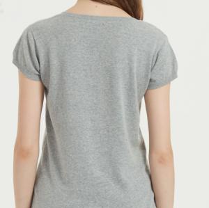 Camiseta de mujer de algodón de lino de color liso de manga corta para el verano