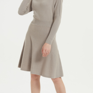 robe longue en cachemire pur style féminin avec couleur naturelle