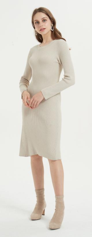 vestido largo de mujer de cachemir puro con color liso