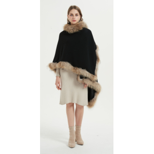 Wholesale new design oversize pure cashmere ladies poncho with fur collar China manufacturer