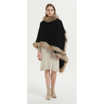 poncho oversize pur cachemire pour femmes avec col en fourrure