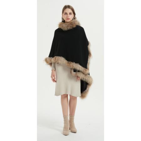 Mode Oversize Poncho aus reinem Kaschmir für Frauen mit schwarzer Farbe