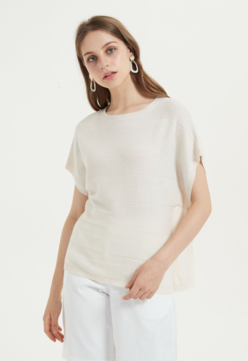 bonita camiseta de mujer de cachemira pura de manga corta para el verano