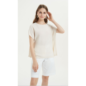 schönes kurzärmliges T-Shirt aus reinem Kaschmir für den Sommer