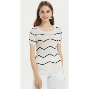 High quality wholesale women latest special strip silk cashmere sweater in reasonable price