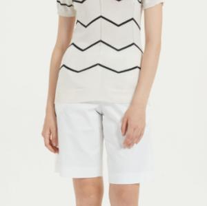 jersey de mujer de seda y cachemir de manga corta con rayas