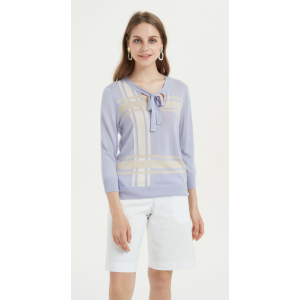 High quality wholesale women latest intarsia silk cashmere sweater in reasonable price