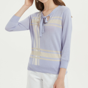 camiseta ligera de seda de cachemira para mujer