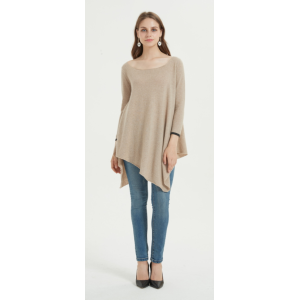wholesale fancy pure cashmere women poncho with natural color China manufacturer