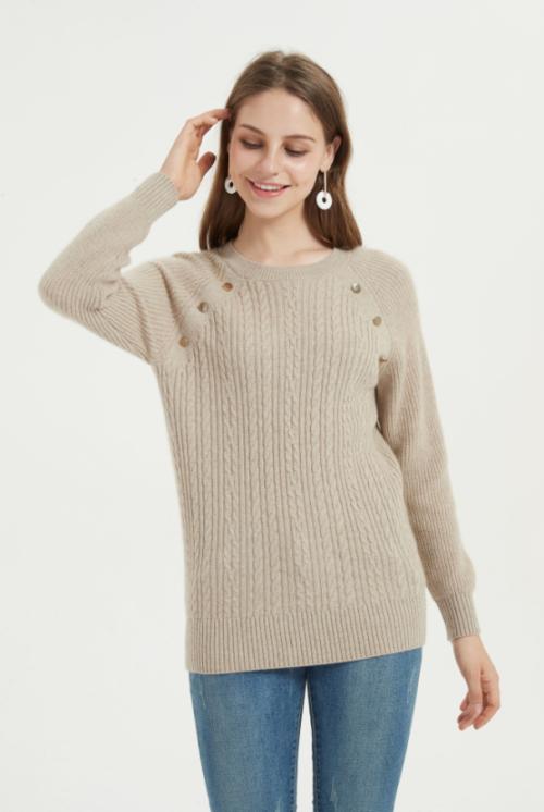 pull femme en cachemire pur en tricot épais de couleur naturelle