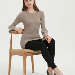 suéter ligero de cachemir puro para mujer con color natural