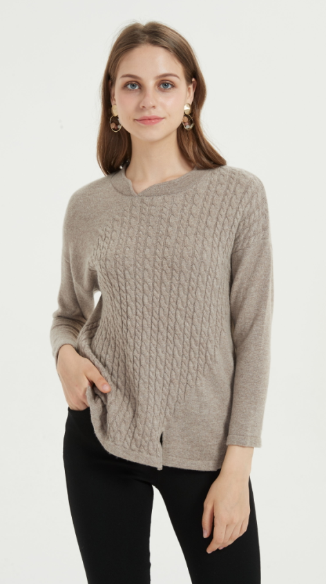jersey de pura cachemira para mujer con color natural