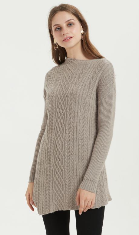 suéter de mujer de cachemir puro de nuevo diseño con color natural