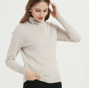 bonito suéter de mujer de pura cachemira de manga larga con color liso