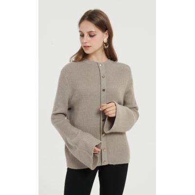 bonita chaqueta de punto de cachemir puro con color liso