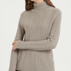 jersey de pura cachemira para mujer con color natural para otoño e invierno