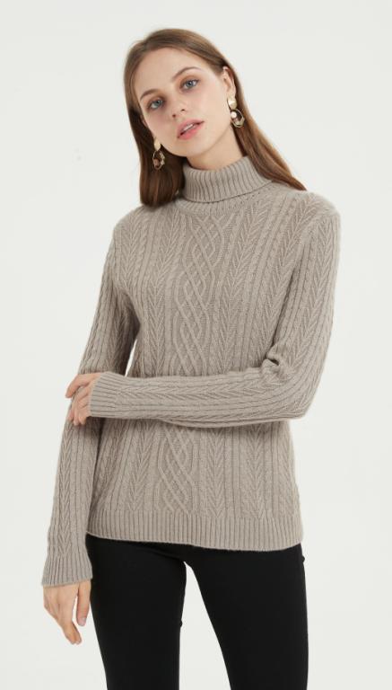 pull femme pur cachemire de couleur naturelle pour l'automne et l'hiver