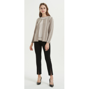 wholesale high quality women pure cashmere swaeter with stripes in low price