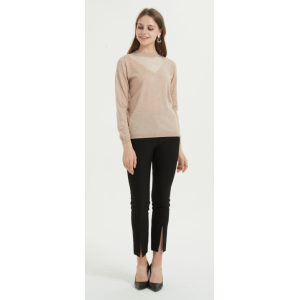 New Arrival crew neck pure cashmere women sweater with solid color for fall winter China supplier