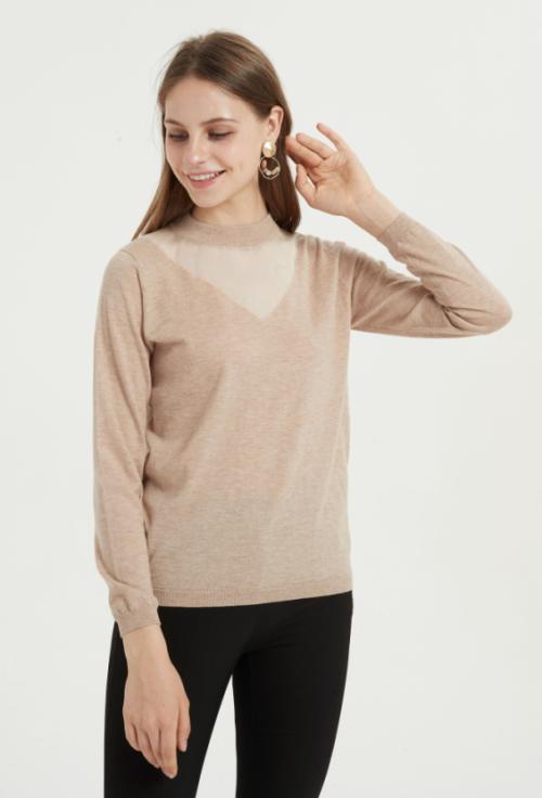 suéter de mujer de cachemira pura con cuello redondo y color liso para otoño invierno