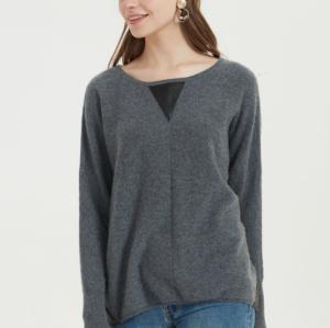 suéter de mujer de cachemir puro de gran tamaño con color liso