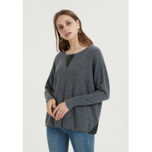 Oversize-Pullover aus reinem Kaschmir für Frauen mit einfarbiger Farbe