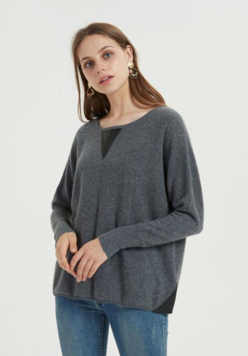 pull femme oversize en pur cachemire de couleur unie