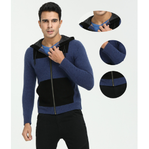 OEM custom design men's cashmere thick coat knitwear with woven pockets hoodie China factory