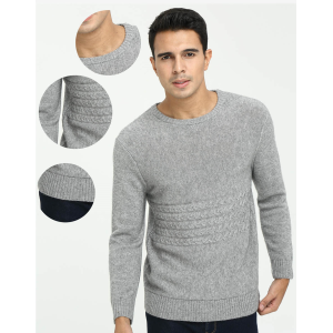 Wholesale high quality men's pure cashmere round neck with cable knit cheap price China manufacturer