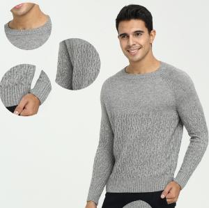 Jersey de cuello redondo Pure Cashmere para hombre con tejido de punto completo