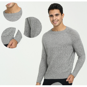 Custom design high quality men's pure cashmere round neck sweater with full cable knit China factory