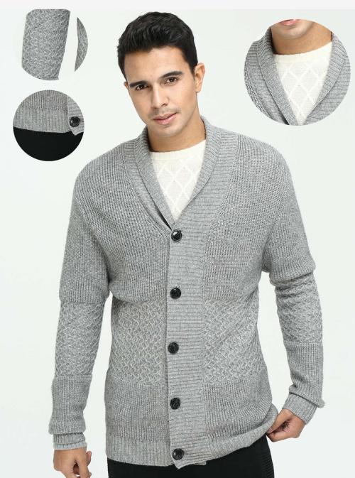 Cárdigan de cachemir puro para hombres con múltiples patrones para el otoño invierno