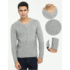 Wholesale men's pure cashmere vneck knitwear with full cable knit for fall winter China supplier