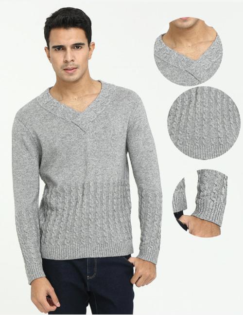 Pull col V en pur cachemire pour hommes avec maille torsadée complète pour l'automne-hiver