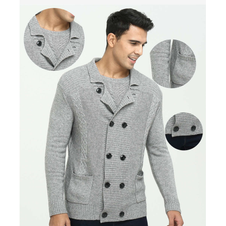 Reine Kaschmir-Strickjacke für Herren für den Herbst Winter