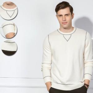 Jersey de cuello redondo básico Pure Cashmere para hombre con detalles