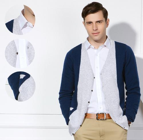 Cárdigan Pure Cashmere para hombre con bloques de colores para otoño invierno