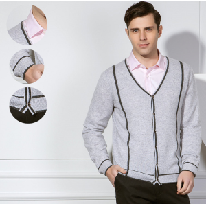 Custom design men's pure cashmere cardigan kknitwear with stripes for fall winter China manufacturer