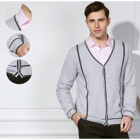 Pure Cashmere Cardigan für Herren mit Streifen für den Herbst Winter