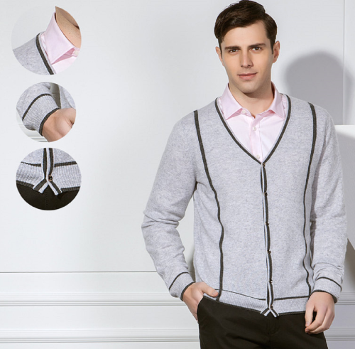 Cárdigan Pure Cashmere para hombre con rayas para otoño invierno