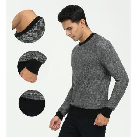 Runder Kaschmir-Roundneck-Pullover für Herren mit Freizeitkleidung