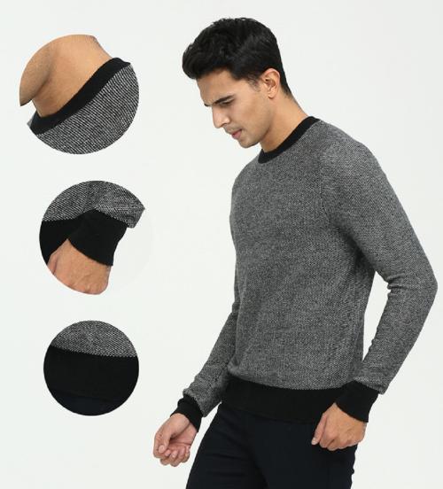 Jersey de cuello redondo Pure Cashmere para hombre con ropa casual