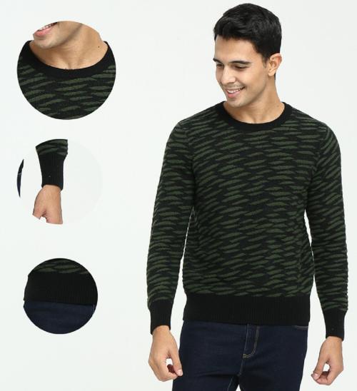 Jersey de cuello redondo Pure Cashmere para hombre con patrones