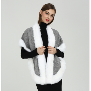 Wholesale Latest Fashion High Quality Women Cashmere Poncho with Fur Collar
